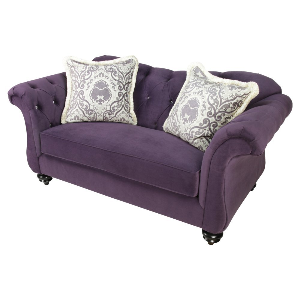 Furniture of America Wellington Premium Fabric Loveseat - Purple