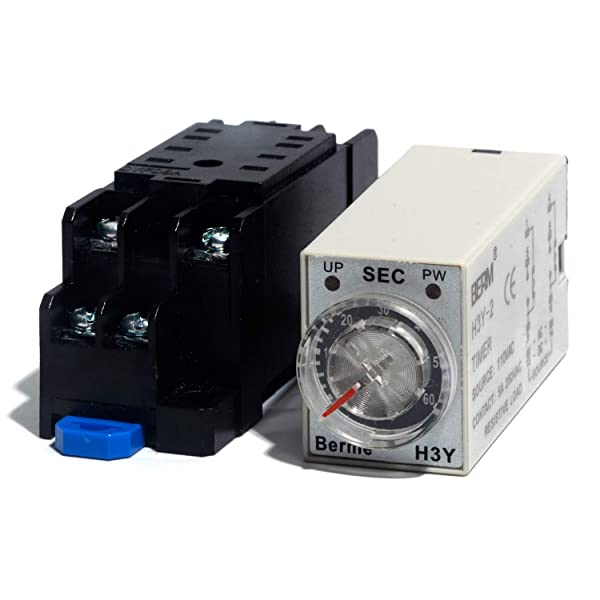 Timed Delay Relay 60S Time Delay Range On-delay Timing Relay H3Y-2 DPDT with Socket AC 110V (Tamaño: 60S)