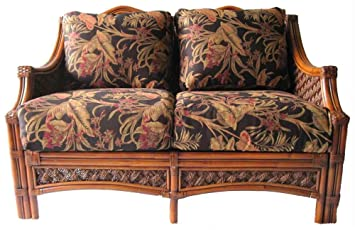Wicker Loveseat with Cushions (Nara Marsala Spun (All Weather))
