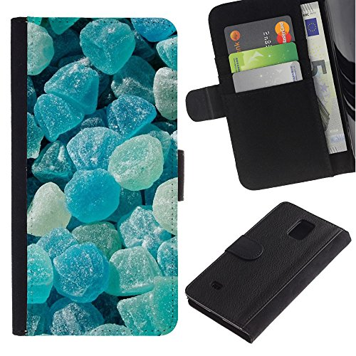 iBinBang / Flip Wallet Design Leather Case Cover - Crystal Meth Rocks Candy Blue Beach - Samsung Galaxy Note 4 SM-N910