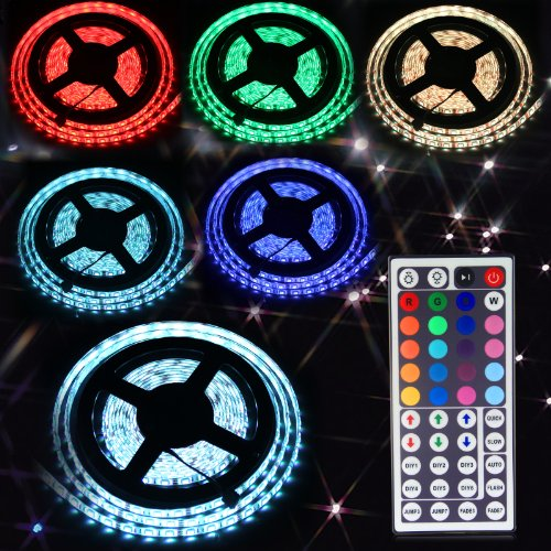 16.4Ft(5M) 5050 300Leds/Pc Rgb Multi-Color Waterproof(Ip-65) Smd Flexible Strip Light With 44Key Ir Remote Controller Color Rgb