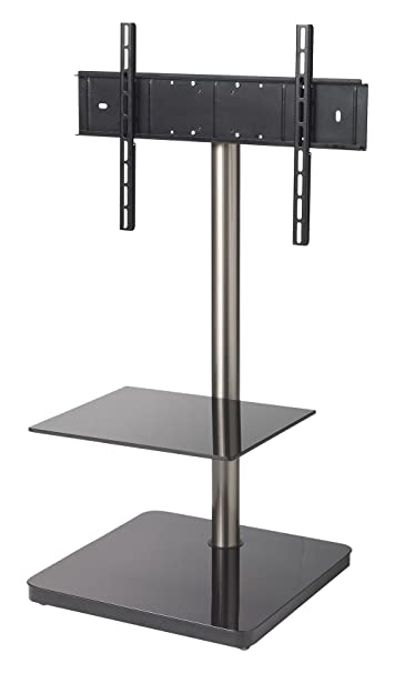 PureMounts PM-GI200 TV Stand for TVs up to 65 Inch / 165 cm Max. VESA 600 x 400 Max. 30 kg +/-30° Pivot / Height 975 mm with Accessory Shelf Universal for all TV Devices Eckiger Fuß+Zubehörplatte