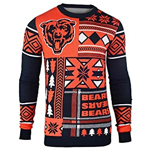 NFL Chicago Bears Patches Ugly Sweater, Blue, X-Large
