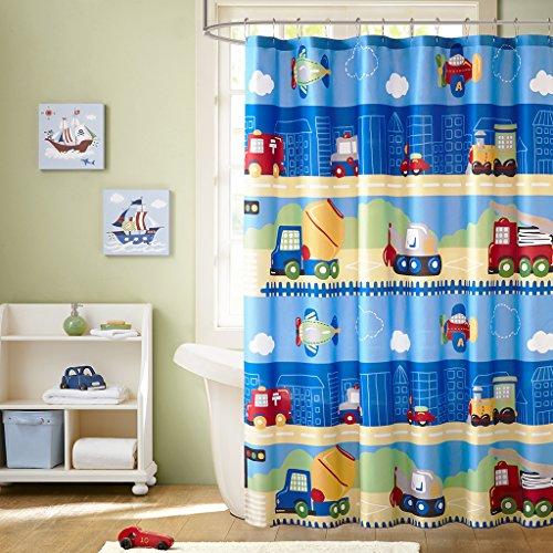 Mizone MZK70-091 Mi Zone Kids Totally Transit Printed Shower Curtain 72x72