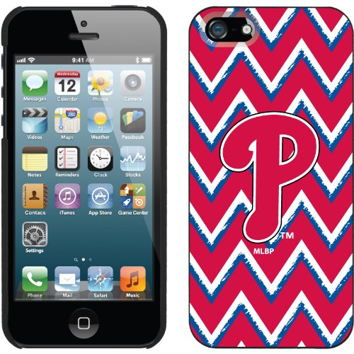 Best Price Philadelphia Phillies - Sketchy Chevron design on a Black iPhone 5s / 5 Thinshield Snap-On Case by Coveroo