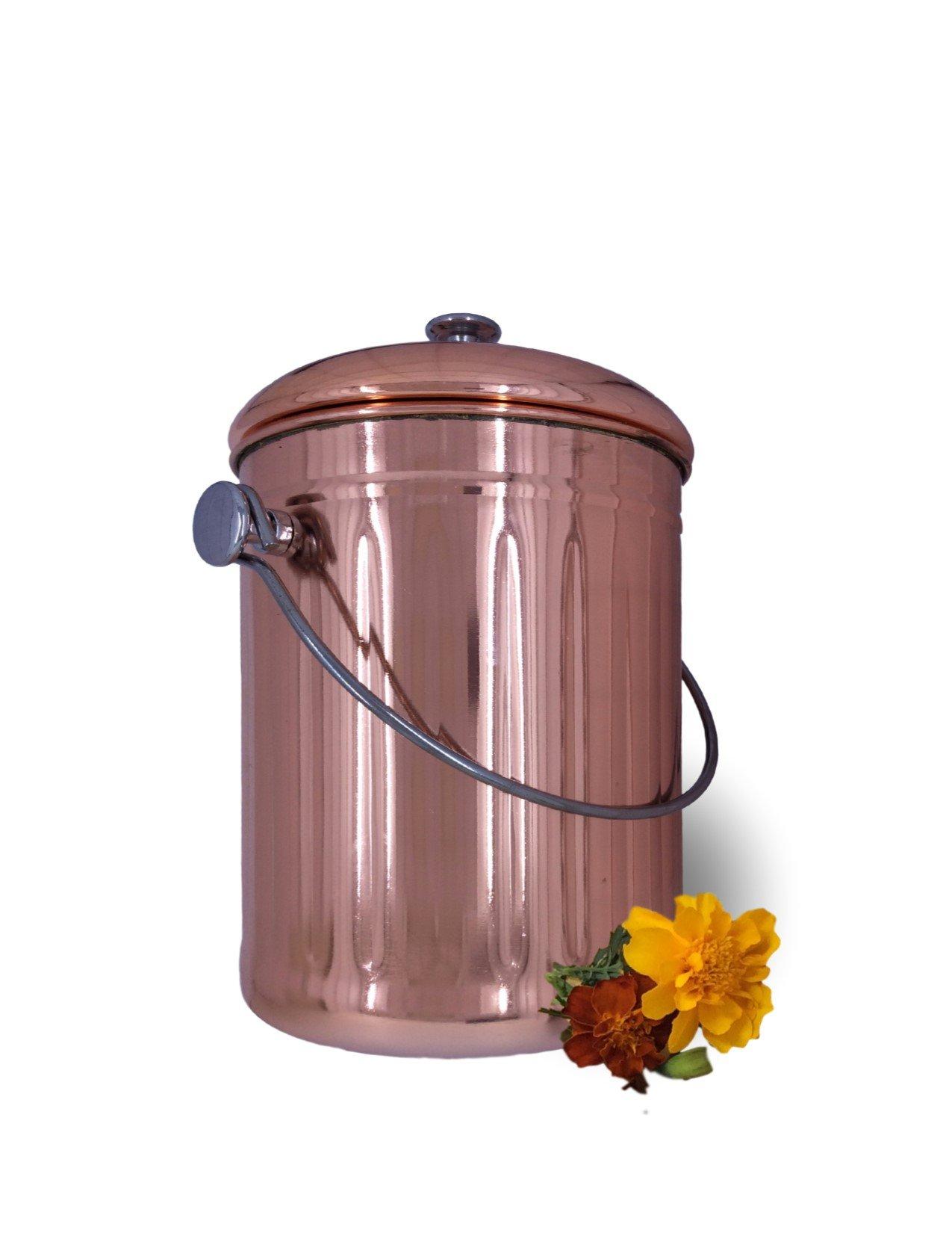 copper countertop compost bin crock bucket for indoor. Black Bedroom Furniture Sets. Home Design Ideas