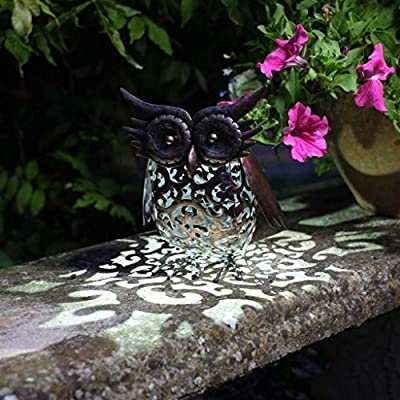 Solar Powered Garden Light Handmade Metal Filigree Patio Ornament Decoration