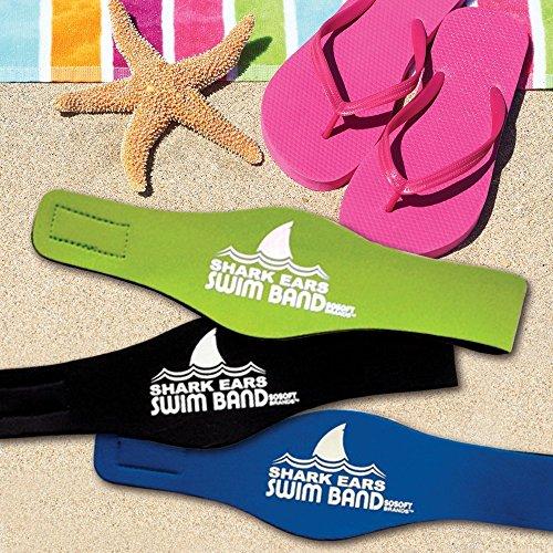 Shark Ears by Sosoft BrandsTM Green Large  Swimming Head Ban