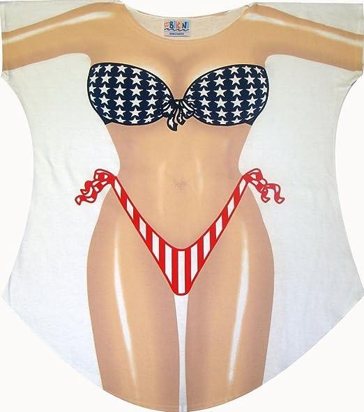 Stars and Stripes Bikini Cover up T-shirt Lady's Fun Wear