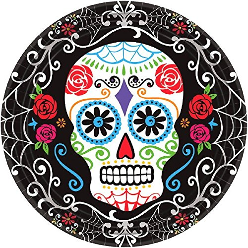 Amscan Day of The Dead Sugar Skull Disposable Round Dinner Paper Plates (Pack of 18), Multicolor, 10.5