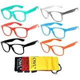 6 Pairs Retro Vintage Clear Lens Sunglasses Colored Frame OWL