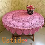 Ustide Rustic Floral Pattern Tablecloth Cotton Pink Tablecloth Hand Crochet Tablecloth Round Pure Cotton Woven Cloth Handmade Tablecloth for Weddings