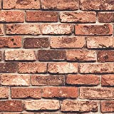 HaokHome 69090 DIY レンガ タイル ブロック赤壁紙 壁用 おしゃれ ブリックパターン  ストーン 3D 屋内 ベッドルーム装飾 53cm×10m(並行輸入品)