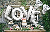 "B-G LOVE (45 INCH) and ""I Do"" Diamond Ring (32 INCH) Extra Large Balloon Set, Romantic Wedding, Bridal Shower, Anniversary, Engagement Party D¨¦cor, Vow Renewal(Silver) H007S"