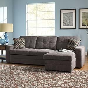 Amazoncom coaster home furnishings 501677 casual for Gray sectional sofa amazon