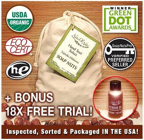 "NaturOli Soap Nuts / Soap Berries. 2 lbs. (320+ loads) USDA CERTIFIED ORGANIC! ""Select"" seedless. Rated ""best"" eco-friendly, natural laundry detergent. Green Dot Award Winner. 100% chemical free. + Extreme 18X trial - A $5.95 FREE BONUS!"