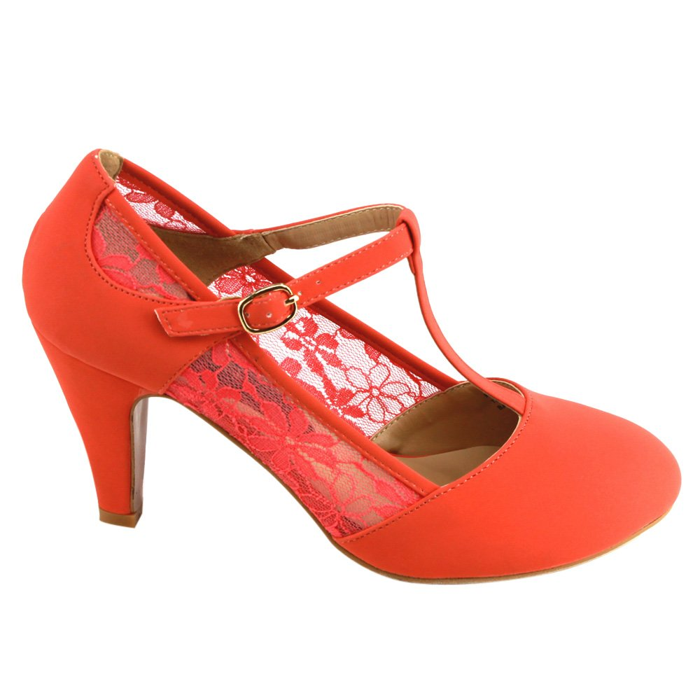 Beston CD49 Women's Mid Heel Round Toe Lace T-Strap Dress Pumps 1