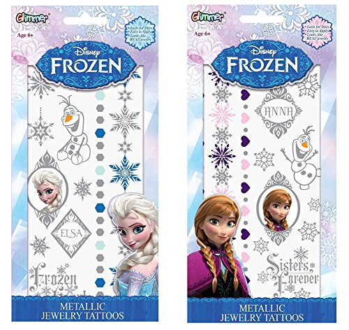 Disney Frozen Elsa and Anna Metallic Jewelry Temporary Tattoo Kits, Set of 2