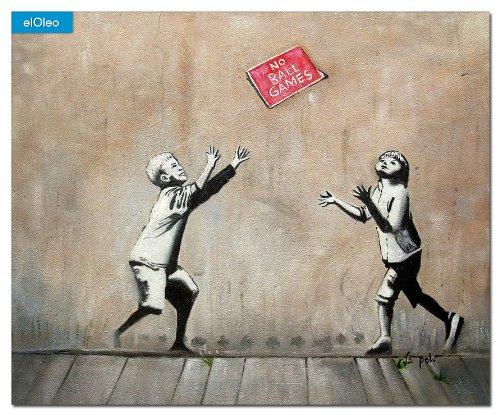 elOleo Homage to Banksy – No Ball Games 50×60 Gemälde auf Leinwand handgemalt 83189A günstig bestellen