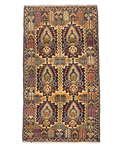Hand-Knotted Royal Baluch Wool Rug, Dark Navy/Khaki, 3' 11 x 6' 9