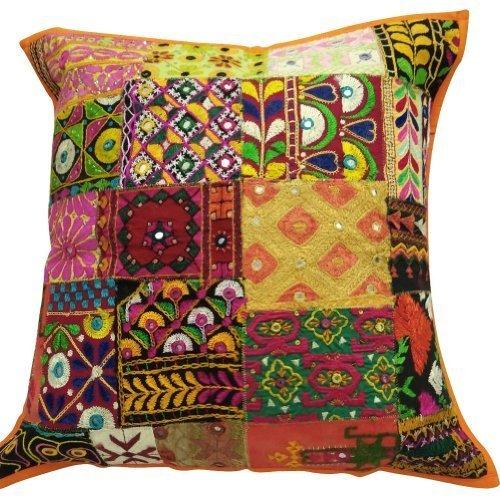 Handmade Pillow Cushion Mustard Yellow Brocade Elephant Indian Cushions Covers