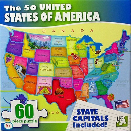 United States of America (USA) Map - 60 Piece Jigsaw Puzzle