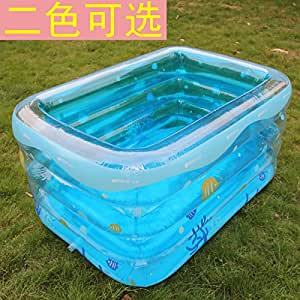Child Infant Small Rectangular Print Inflatable Womanhood The Pool Blue Swimming