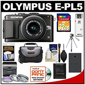 Olympus PEN E-PL5 16.1 MP Digital Camera Body & 14-42mm II R Lens (Black) with 32GB Card + Battery + Case + 3 UV/FLD/PL Filters + Tripod + Accessory Kit