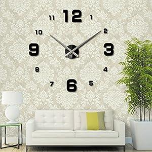 Amazoncom Home decorations Big mirror 3D wall clock