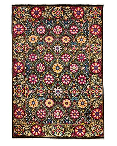 Darya Rugs Suzani Hand-Made Rug, Black, 6' x 9' 5