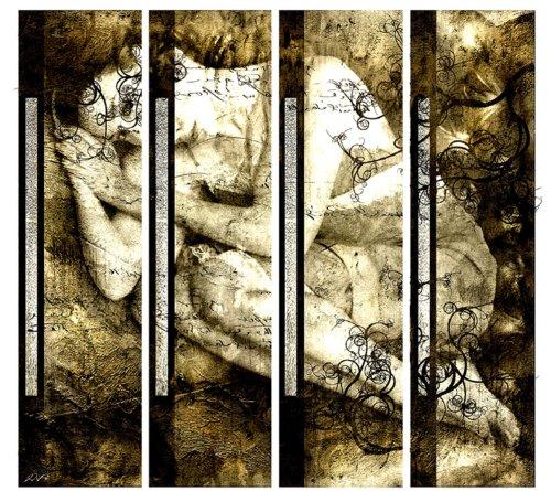 Hammer Angebot! 4 teiliges Leinwandbild xxl billig & modern (Dreaming) Bilder fertig gerahmt mit Keilrahmen riesig im Bilder Shop. Ausführung Kunstdruck neu als Wandbild mit Rahmen aus Holz. Wohnideen zum einrichten preiswerter als Ölbild Gemälde Foto Poster Plakat mit Bilderrahmen. Deko für Wohnzimmer und Schlafzimmer - Picture Style (abstrakt Frau schlafend blumige Muster romantisch Formen Linien Schrift beige grau) . 100% Made in Germany - Qualität aus Deutschland. Weitere Foto Bilder im Bild