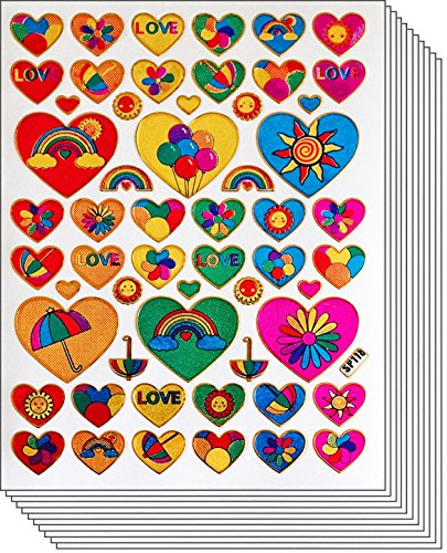 Jazzstick 420 Fun & Cute Love Heart Decal Stickers Value Pack 10 sheets 01A23