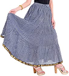 Ceil Women's Cotton Skirt (Blue)