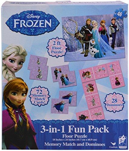 Disney Frozen 3 in 1 Activity Game Box - Puzzle, Floor Dominoes, Memory Match