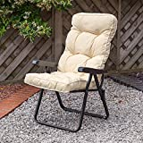 Garden Recliner Black Chair with Luxury Cushion - Ares Cream