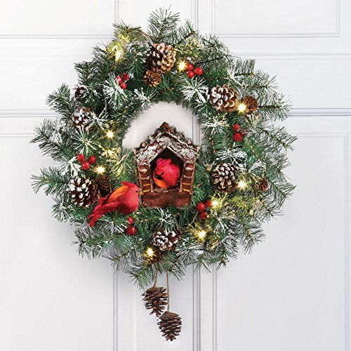 "17"" Lighted Cardinal Bird House Door Wreath Decorative Pine Cones Berries Christmas Seasonal Decor"