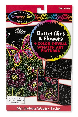 Butterflies & Flowers: Scratch Art Color-Reveal Light Catcher Pack + FREE Melissa & Doug Scratch Art Mini-Pad Bundle [59565]