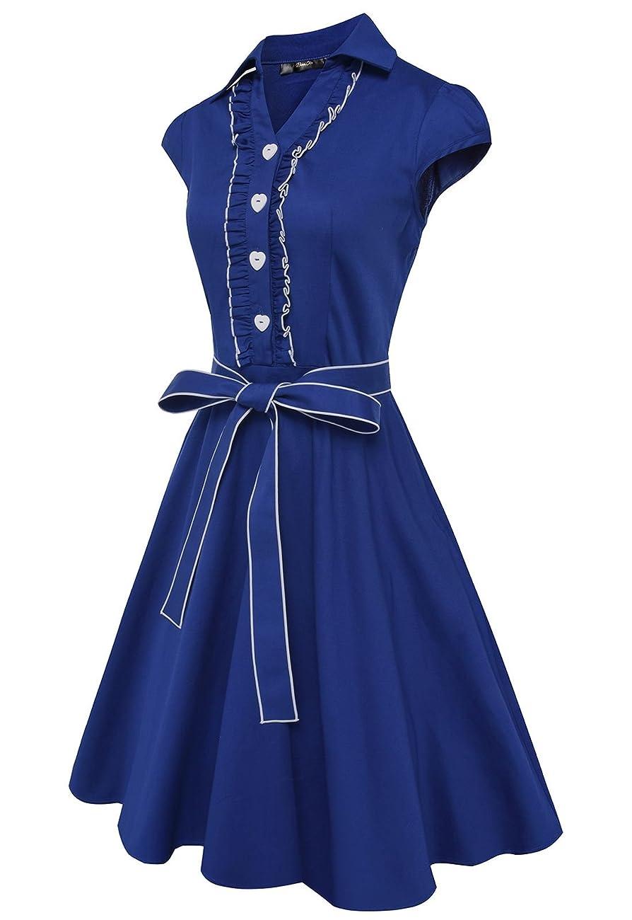 Anni Coco® Women's 1950s Cap Sleeve Swing Vintage Party Dresses Multi Coloredblue 1