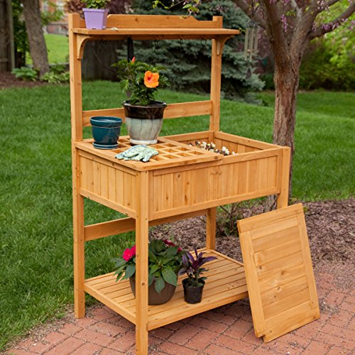 Best Outdoor Patio Garden Weather Resistant Hard Fir Wood Potting Table Stand Bench With Storage Organizer Tool Hooks Shelves- Perfect Way For All Home Gardeners To Work In Comfort- Green Thumb Winner (Coral Coast Potting Bench compare prices)