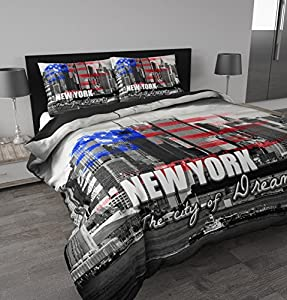 sleeptime bettw sche new york 200x200 220 grau mit 2 kissenbez ge 60x70 k che. Black Bedroom Furniture Sets. Home Design Ideas
