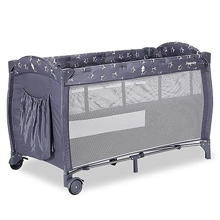 HTTMYY Bambino Lettini Da Viaggio Portatile Presepe Multifunzione Pieghevole Gioco/Travel Bed Culla Doppio Strato Neonati Ruote Mobili 0-4 Anni , 001