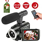 Camcorder Digital Video Camera, Camcorder with Microphone Full HD Vlogging Camera for YouTube 1080p 24.0MP Night Vision Vlog Camera Support LED Light Input (Color: 72A)