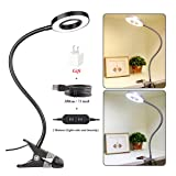 YAZONE 7W LED Dimmable Clip On Lamp, Clip On Light, Portable USB Eye-Care Book Light Clip lamp for Desk, Bed Headboard,Tattoo,Nail Art & Makeup,Warm Light and White Light, Adapter Included (Color: Black)