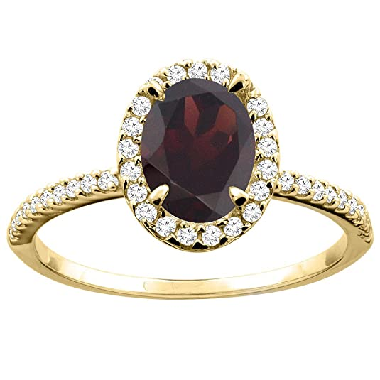 14ct Yellow Gold Natural Garnet Ring Oval 8x6mm Diamond Accent 7/16 inch wide, size S
