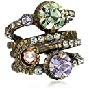 "Sorrelli ""Sweet Dreams"" Stacked Circular Crystal Gold-Tone Adjustable Ring"