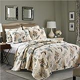 gardenlightess ベッドカバー キルト ベッドスプレッド ソファーカバー ケイーン キング用 3点セット 100%綿 鳥柄