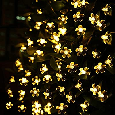LE® Solar Fairy Lights, 23ft, Waterproof, 50 LEDs, 1.2 V, Warm White, Portable, with Light Sensor, Outdoor Blossom String Lights, Ideal for Christmas, Wedding, Party