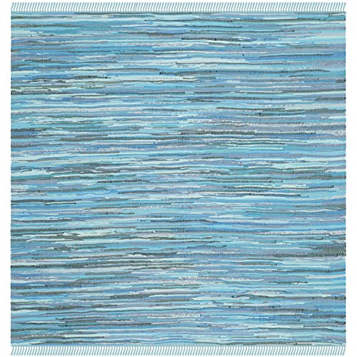 Safavieh Rag Rug Collection RAR121B Hand Woven Blue and Multi Cotton Square Area Rug, 6 feet Square (6' Square)