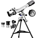 Telescope 70EQ Refractor Telescope Scope - 70mm Aperture and 700mm Focal Length, Multi-layer Green Film, with Digiscoping Adapter for Photography (Color: 70700)