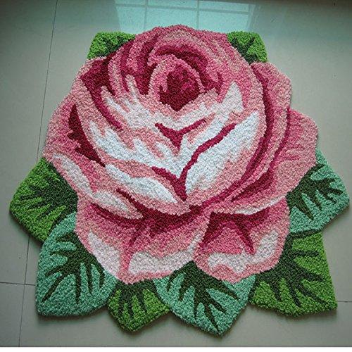 Ustide Modern Style Rug Soft Rose Rug Handmade Rug Anti-Slip Area Carpet Living Room Rug Kitchen Mats Bedroom Rug 3x2